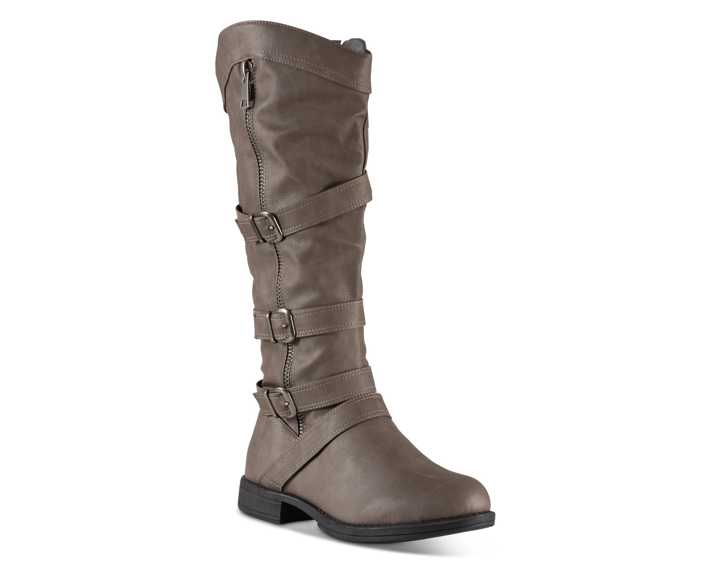 Twisted Women's Amira Wide Width/Wide Calf Faux Leather Knee-High Western Flat Riding Boot with Multi Buckle Straps - Grey, Size 9