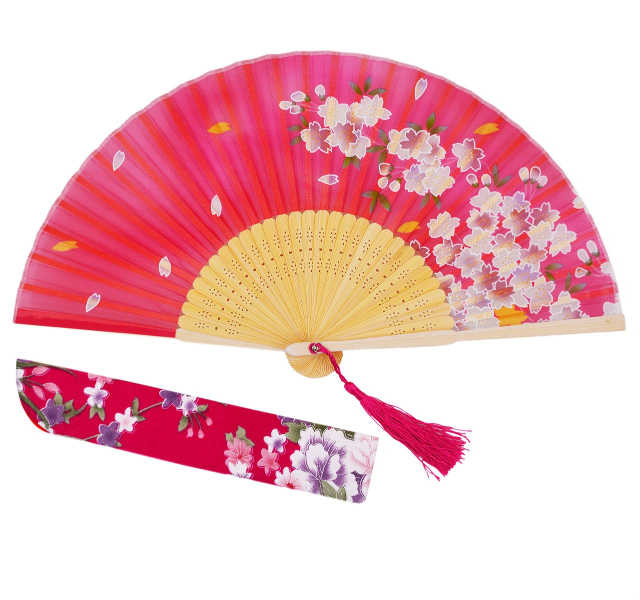 Meifan Chinese Japanese Women Hand Held Folding Fans With Bamboo Frame (Red)