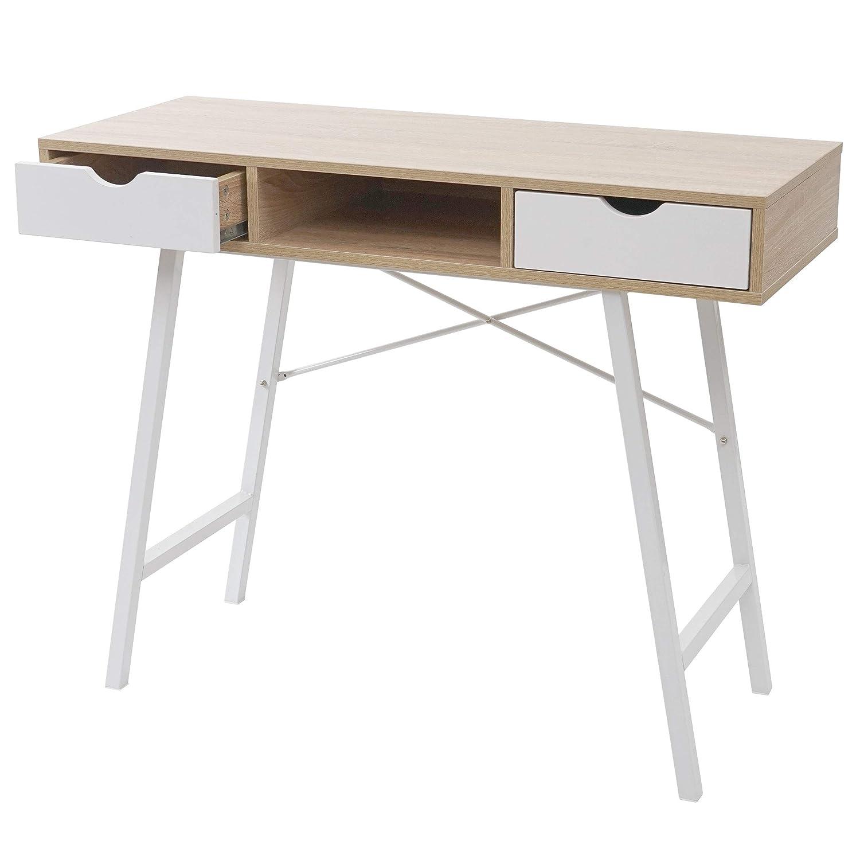 Blanc Mendler Console HWC-E92 Structure 3D 100x40cm Brun Naturel Table de desserte//dappoint