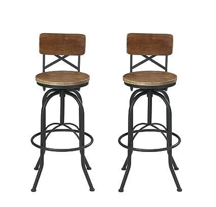 VILAVITA Set Of 2 25.6u0026quot; To 29.6u0026quot; Adjustable Round Wooden Bar  Stools With Backrest