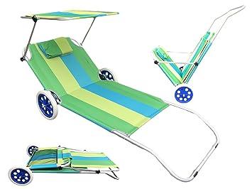 Strandliege mit rollen und dach  Amazon.de: Strandliege aus Aluminium | mit Sonnenschutz-Dach | Grün ...