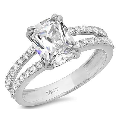 Amazon.com: Clara Pucci 4,35 ct corte cojín anillo de ...