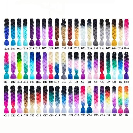 KY Peluca Trenzado sintético Crochet Pelo Rosa Rosa Azul Gris Extensiones de Cabello Jumbo Trenzas (