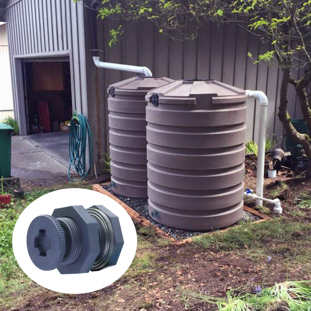 Pools Tubs Omitfu Set of 3 PVC 3//4 Inch Bulkhead Fitting with Plugs Threaded Bulkhead Adapter Rain Barrel Spigot Connector Kit for Water Tanks Aquariums