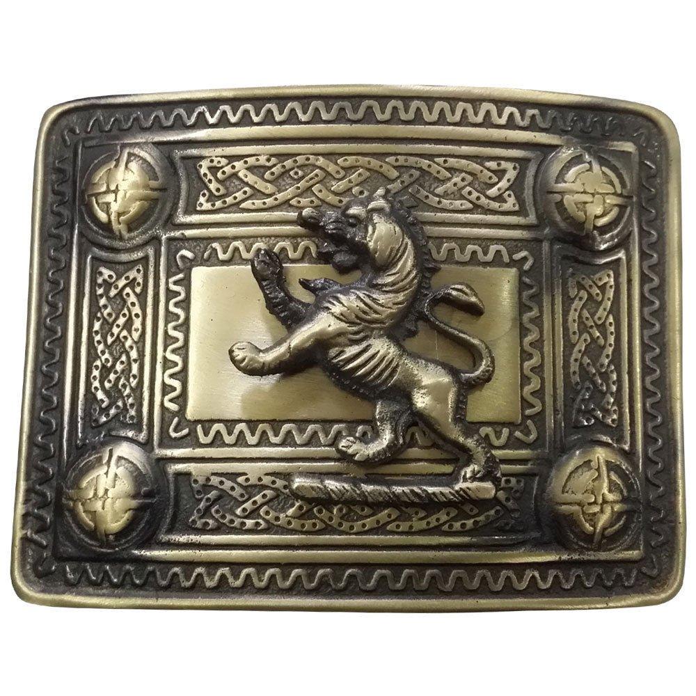 Tartan City Herren Kilt Gürtel Schnallen Distel 4Dome Spiegel mit Lion Rampant Badge Antik Finish/Celtic Gürtelschnalle Lion Rampant