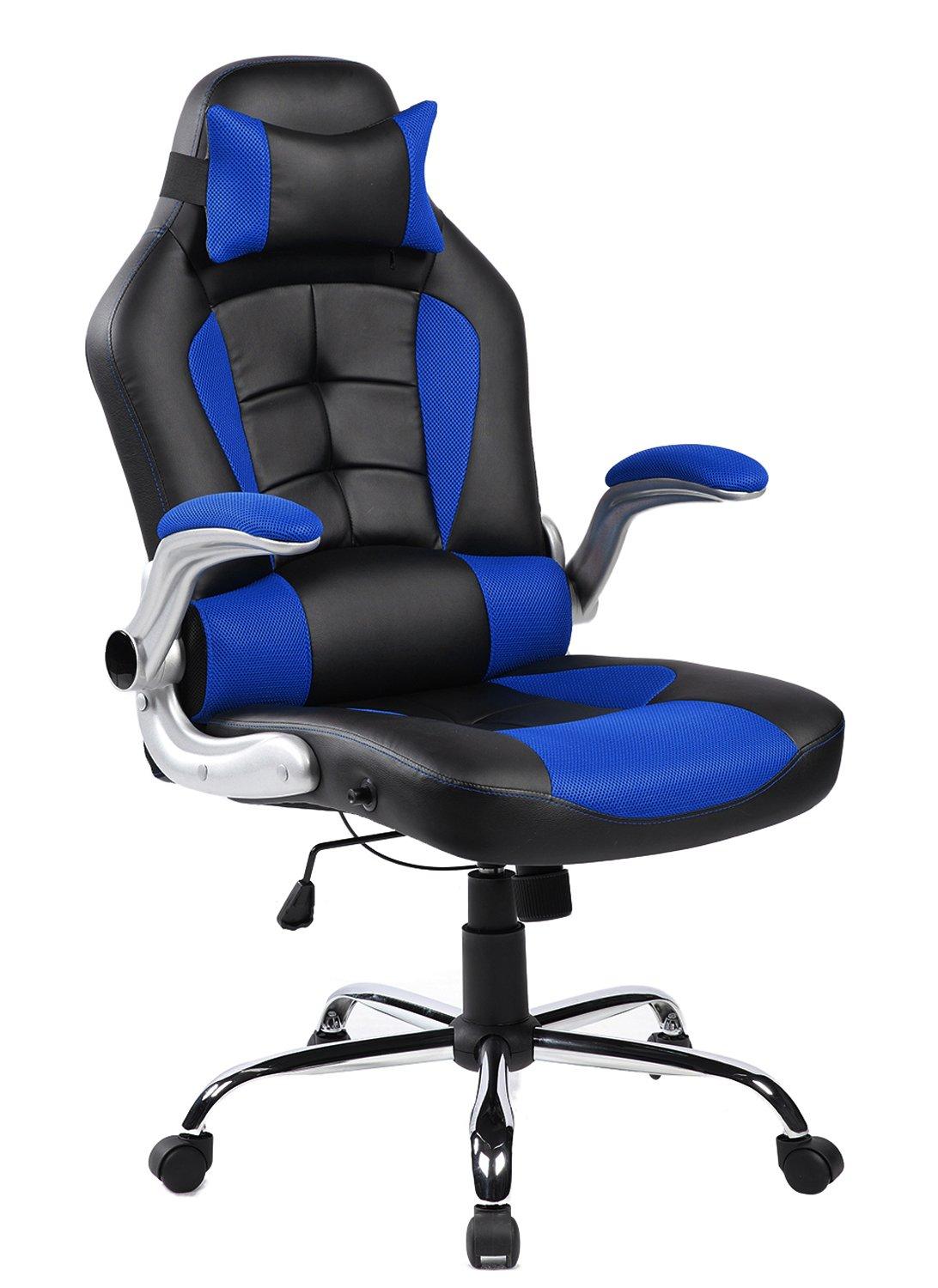 Merax High-Back Ergonomic Pu Swivel Chair Computer Desk Lumbar Support Chair Napping Chair (Blue and Black) PP005685CAA