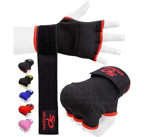 Starpro Guantes Interiores Hook n Loop | Guante de algodón y Semi Vendaje | Colores múltiples | Protector de puño Pulgar para Boxeo, Muay Thai Kickboxing Artes Marciales Entrenamiento de Lucha MMA: