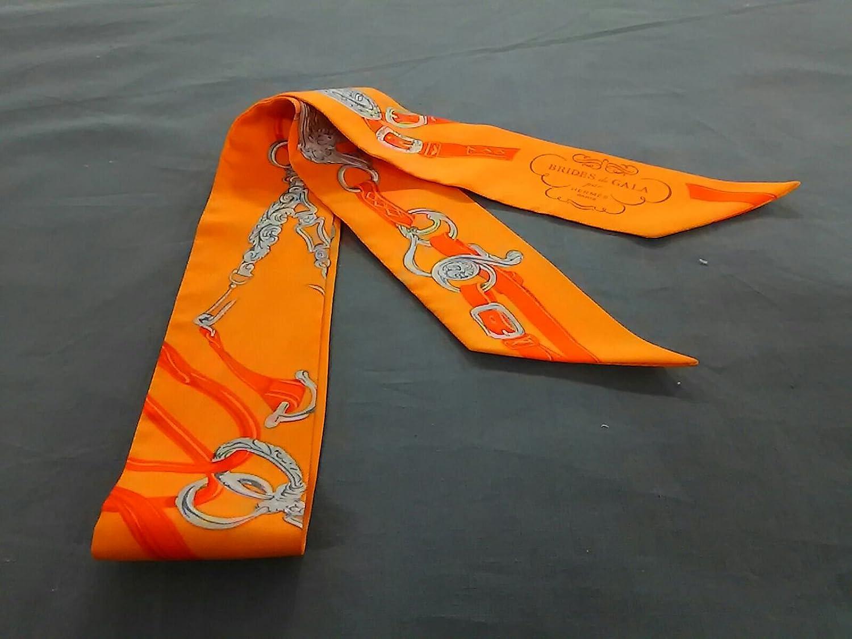 (エルメス) HERMES スカーフ オレンジ×ライトグレー ツィリー 【中古】 B07FSNQ3TK  -