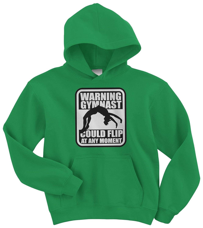Threadrock Big Girls' Warning Gymnast Could Flip Youth Hoodie Sweatshirt TK00250-04