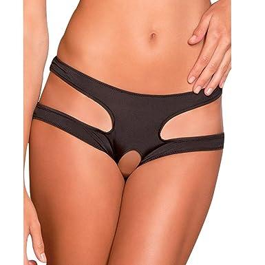 fb9db8f46104 FEESHOW Womens Sexy Crotchless Panties Open Crotch Underwear Plus Size  Black Medium(Waistline 24.0-