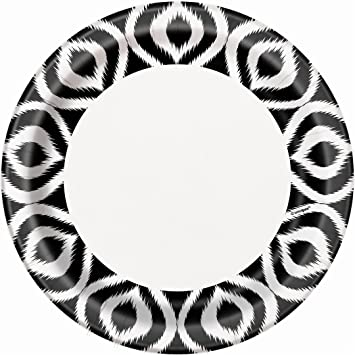 Black and White Moroccan Ikat Dinner Plates 8ct  sc 1 st  Amazon.com & Amazon.com: Black and White Moroccan Ikat Dinner Plates 8ct ...