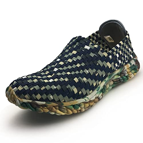 Men Slip On Walking Shoes - Lightweight Breathable Woven Loafers Man Casual Sneakers