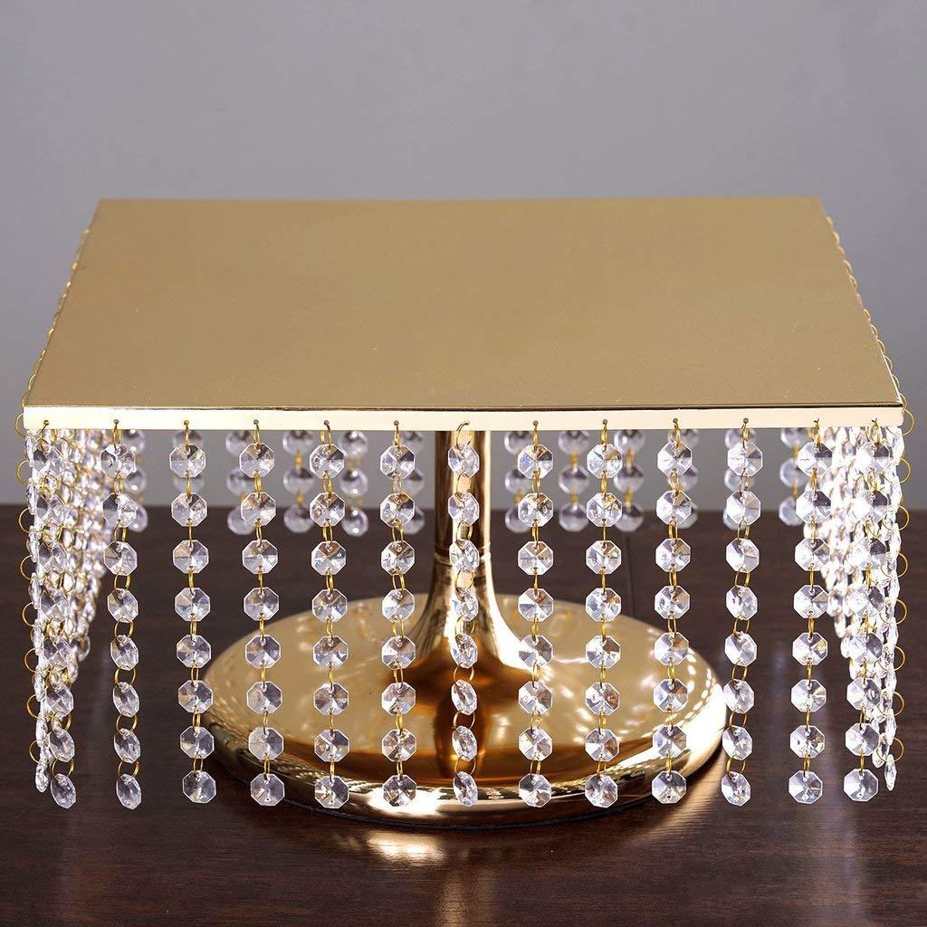 Efavormart 宝石で飾られたスクエアクリスタルペンダント メタルシャンデリア ウェディングライザーケーキスタンド 14
