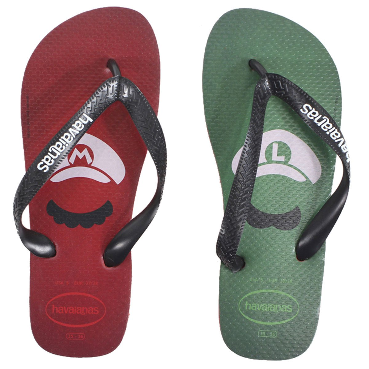 Amazon.com | Havaianas Mens Mario Bros Ruby Red Flip Flops Sandals Shoes Sz: 13 | Sandals