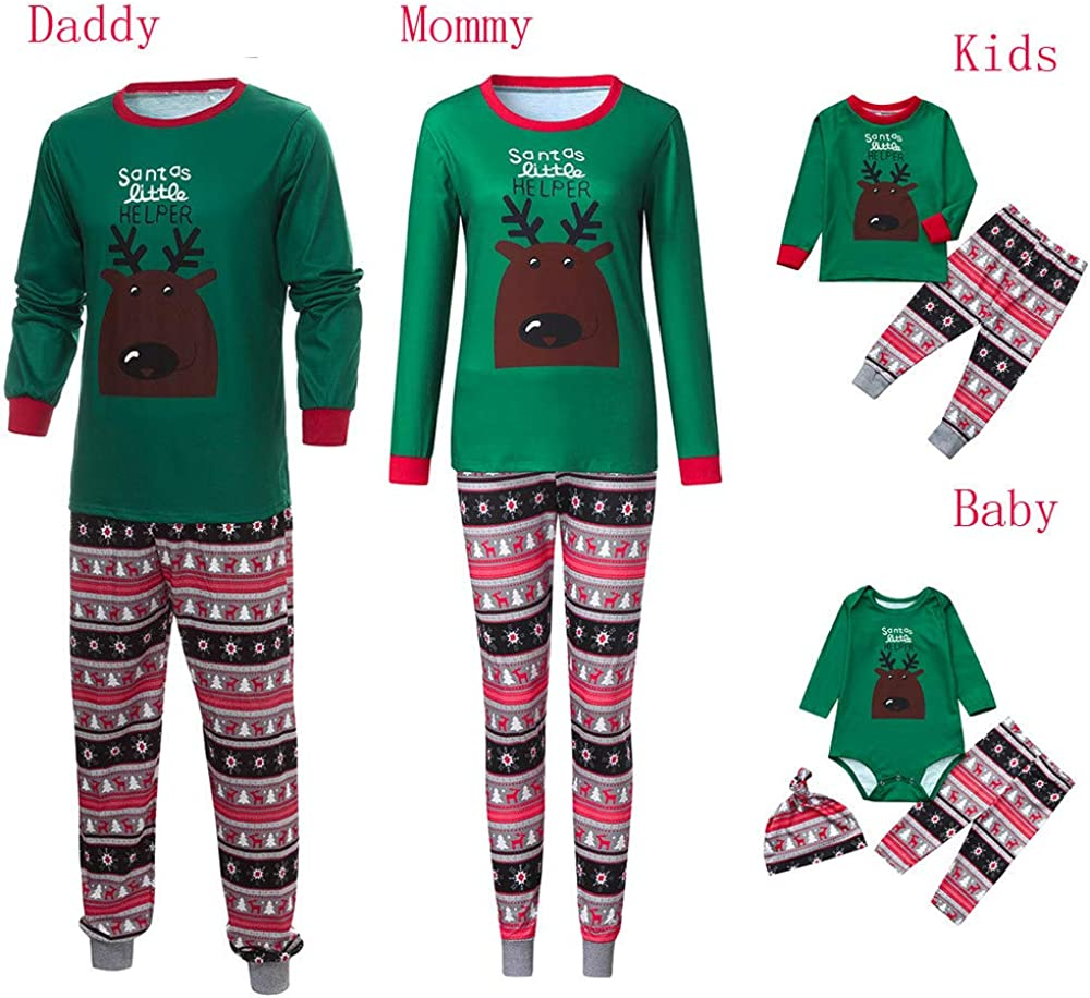 Onefa 2PCS Christmas Children Stripe Top+Pants Long Sleeves Family Clothes Pajamas