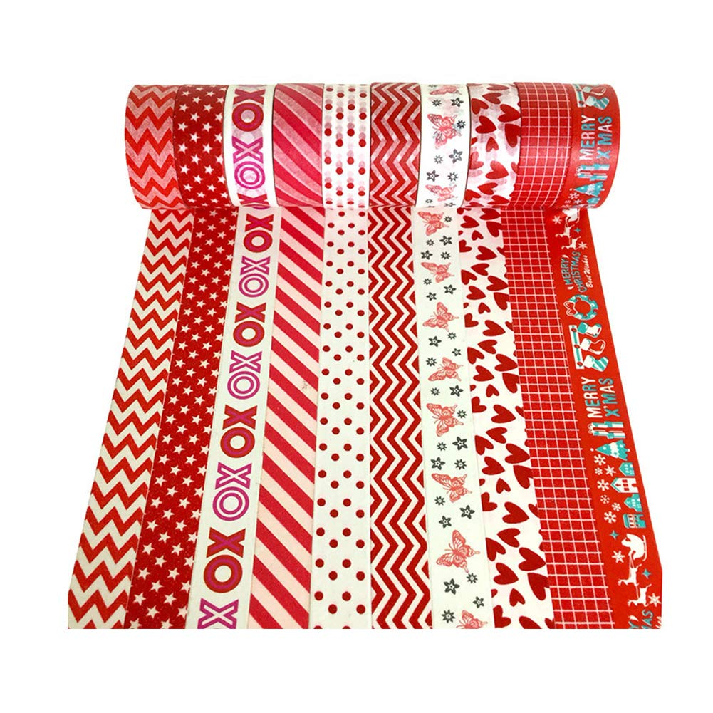 Assortment of Christmas Holiday Designs /& Shapes XYBAGS Christmas Decorative Washi Tape,Set of 10 Rolls Style H