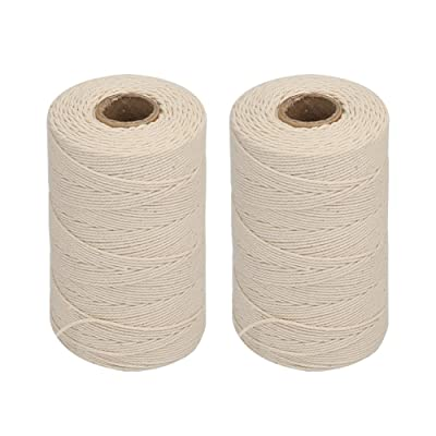 Vivifying 2pcs x 656 Feet 3Ply Cotton Bakers Twine, Food Safe Cooking String for Tying Meat, Making Sausage : Office Products