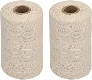 Vivifying 2pcs x 656 Feet 3Ply Cotton Bakers Twine, Food Safe Cooking String for Tying Meat, Making Sausage