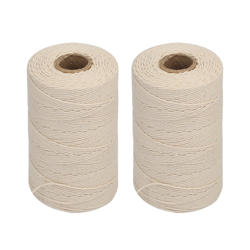 Vivifying 2pcs x 656 Feet 3Ply Cotton Bakers Twine, Food Safe Cooking String for Tying Meat, Making Sausage (White)