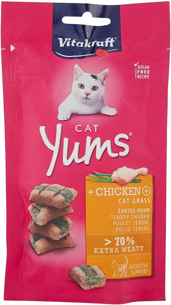 Vitakraft Cat Yums - Mordidas suaves de pollo y pasto para ...