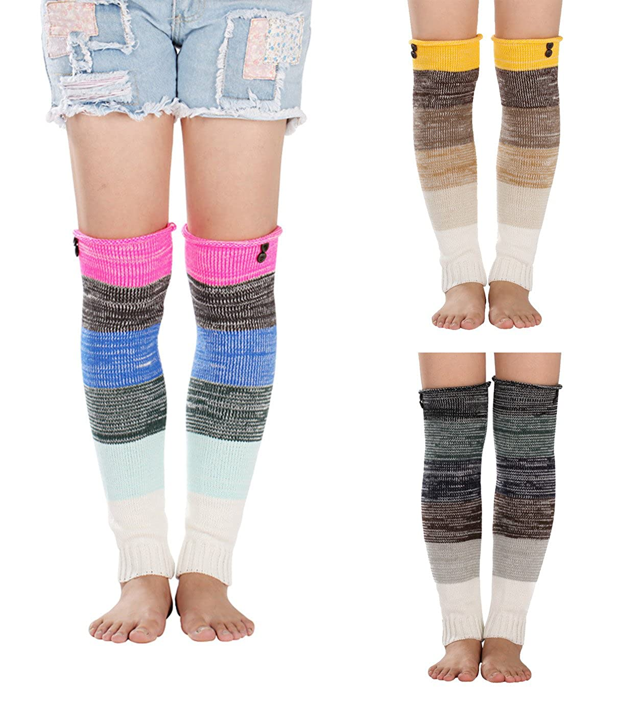 Gellwhu 3 Pack Women's Long Leg Warmers Cable Knit Thick Warm Boot Socks with Buttons GELLA328A