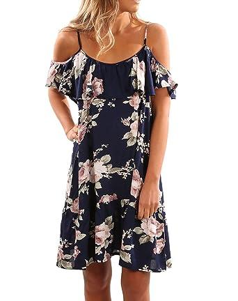 74669e5975ad Women s Strap Naked Shoulder Dress Off Shoulder Floral Printed Summer  Dresses Beach Sundresses Blue S