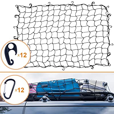 "Coolrunner 4'x6' Bungee Cargo Net for Truck Bed Stretches to 8'x12', Heavy Duty Cargo Netting with Small 4""x4"" Mesh Tangle-Free 12 Clip Carabiner & 12 Pcs Hooks for SUV,ATV/UTV,RV,Pickup Pickup Bed,Tr: Automotive"