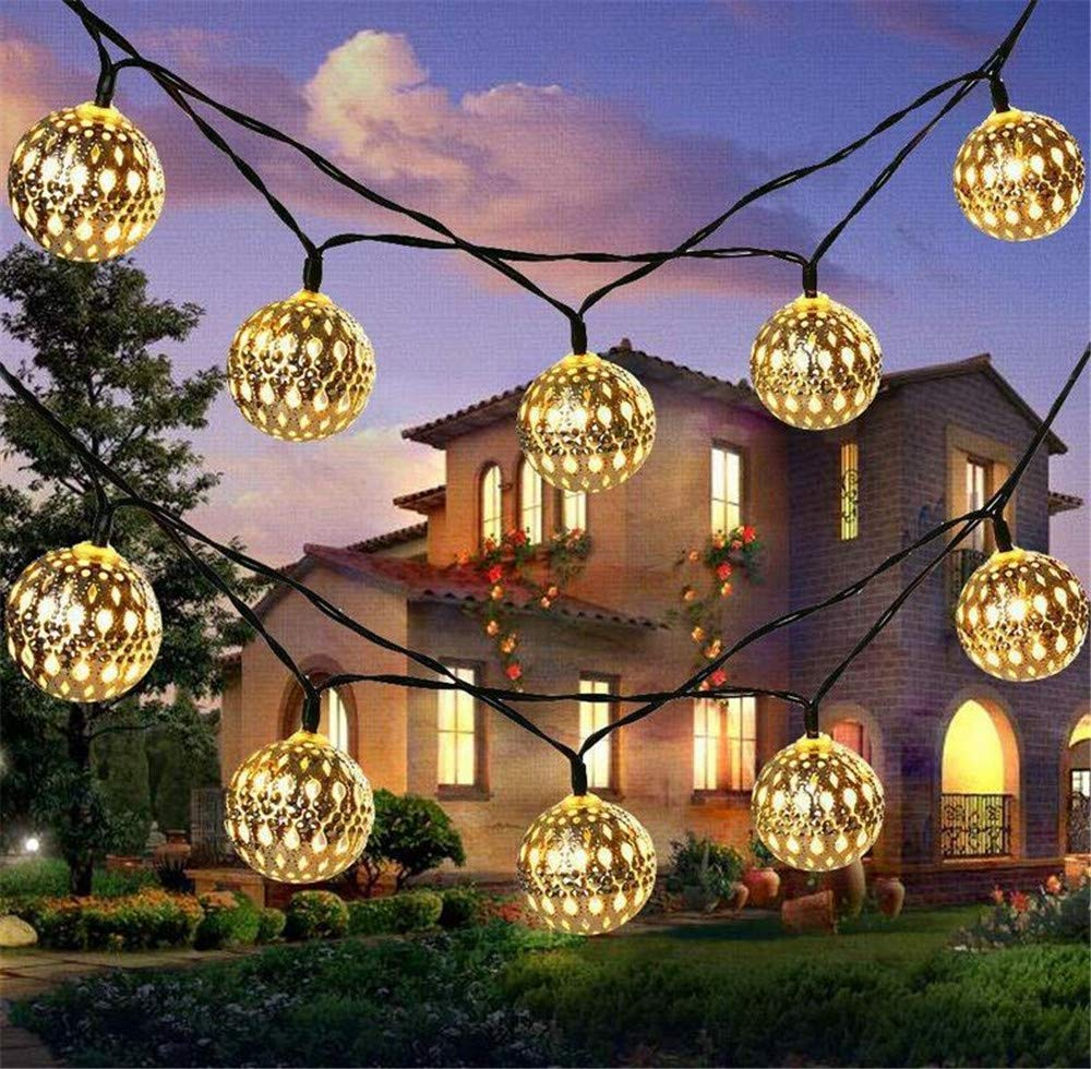 PURETIME Solar Iron String Lights, 10 LED 10FT/3.5M Moroccan Style Decorative String Lights Indoor Outdoor for Christmas, Wedding, Store,Party, Home, Patio Lawn (Warm White)