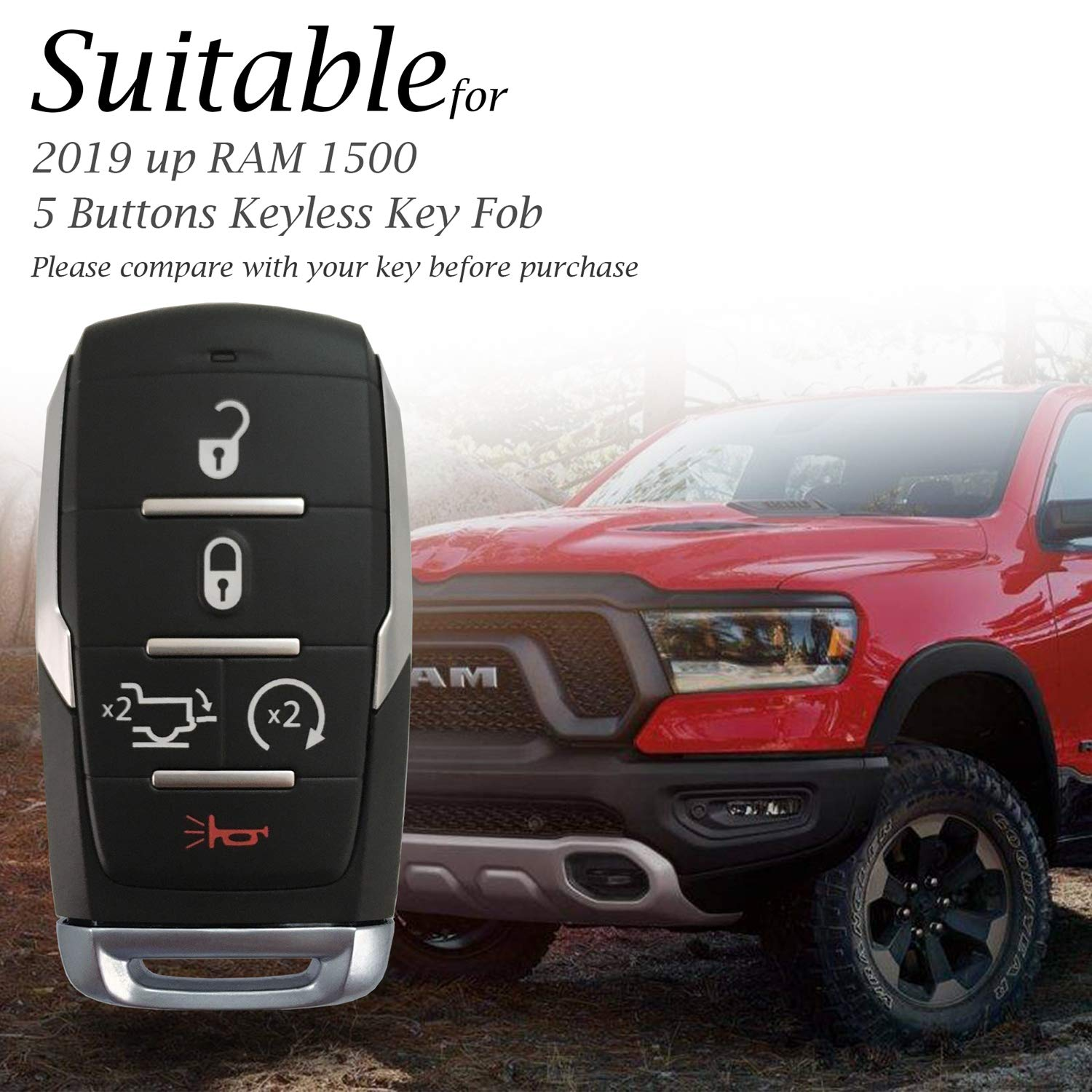6-Button, Red Vitodeco Genuine Leather Keyless Entry Remote Control Smart Key Case Cover with Leather Key Chain for 2019 RAM 1500