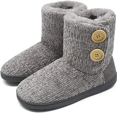 KuaiLu Zapatillas-de-Casa-para-Mujer, Chenille Tejer Zapatillas Casa Mujer Cerradas Invierno, Cómoda Altas Densidad Memory Foam Pantuflas, Antideslizante Suelas Zapatos