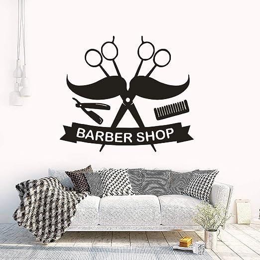 haochenli188 Logotipo de barbero Etiqueta de la Pared Bigote ...