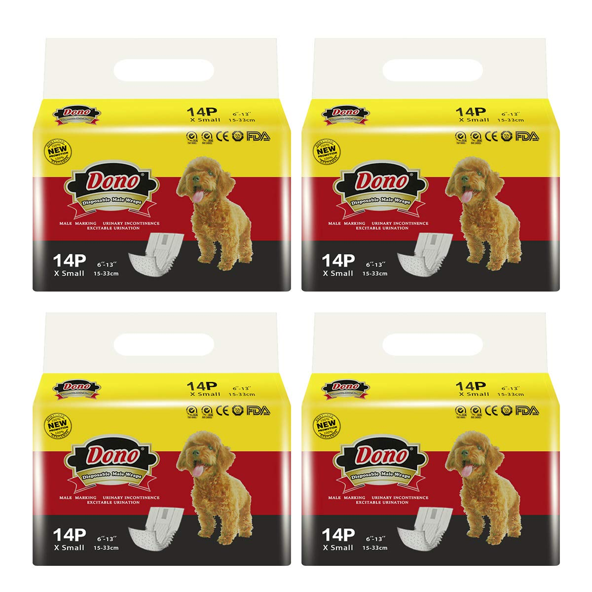DONO Disposable Male Wraps Dog Diapers Super Absorbent Soft Diapers for Male Dogs,with Wetness Indicator,56pcs,XS (6''-13'') by DONO