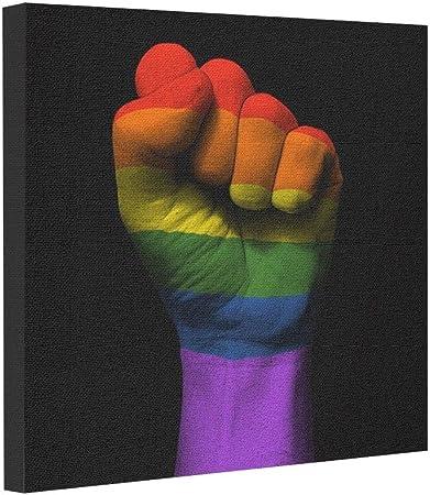 Sueño etapa Raised Clenched puño con orgullo Gay bandera del arco iris foto lienzo impresión: Amazon.es: Hogar
