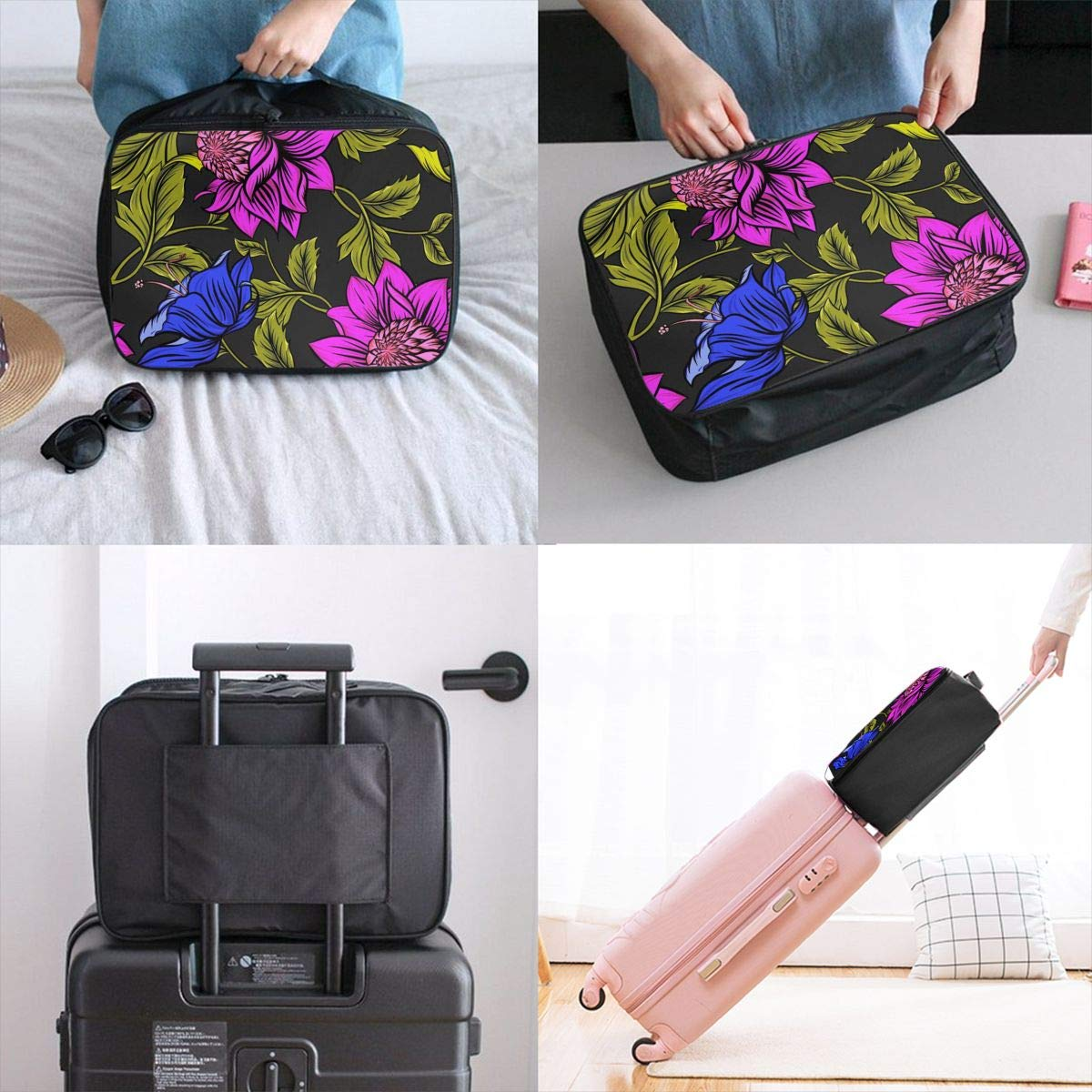 Flower Flower Plant Petals Travel Lightweight Waterproof Foldable Storage Carry Luggage Large Capacity Portable Luggage Bag Duffel Bag