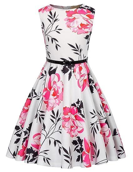 Niña Vestido Corto De Verano Estampado Vestido Elegante Para Cóctel Fiesta 6 Años Kk884 2