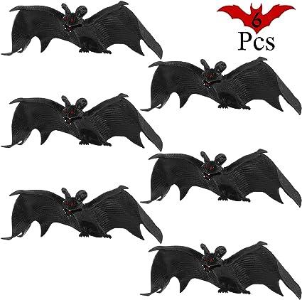 Jovitec 24 Pieces Hanging Bats Halloween Bat Decoration Rubber Bat Realistic Spooky Bats for Halloween Party Favors and Decoration 5 Sizes