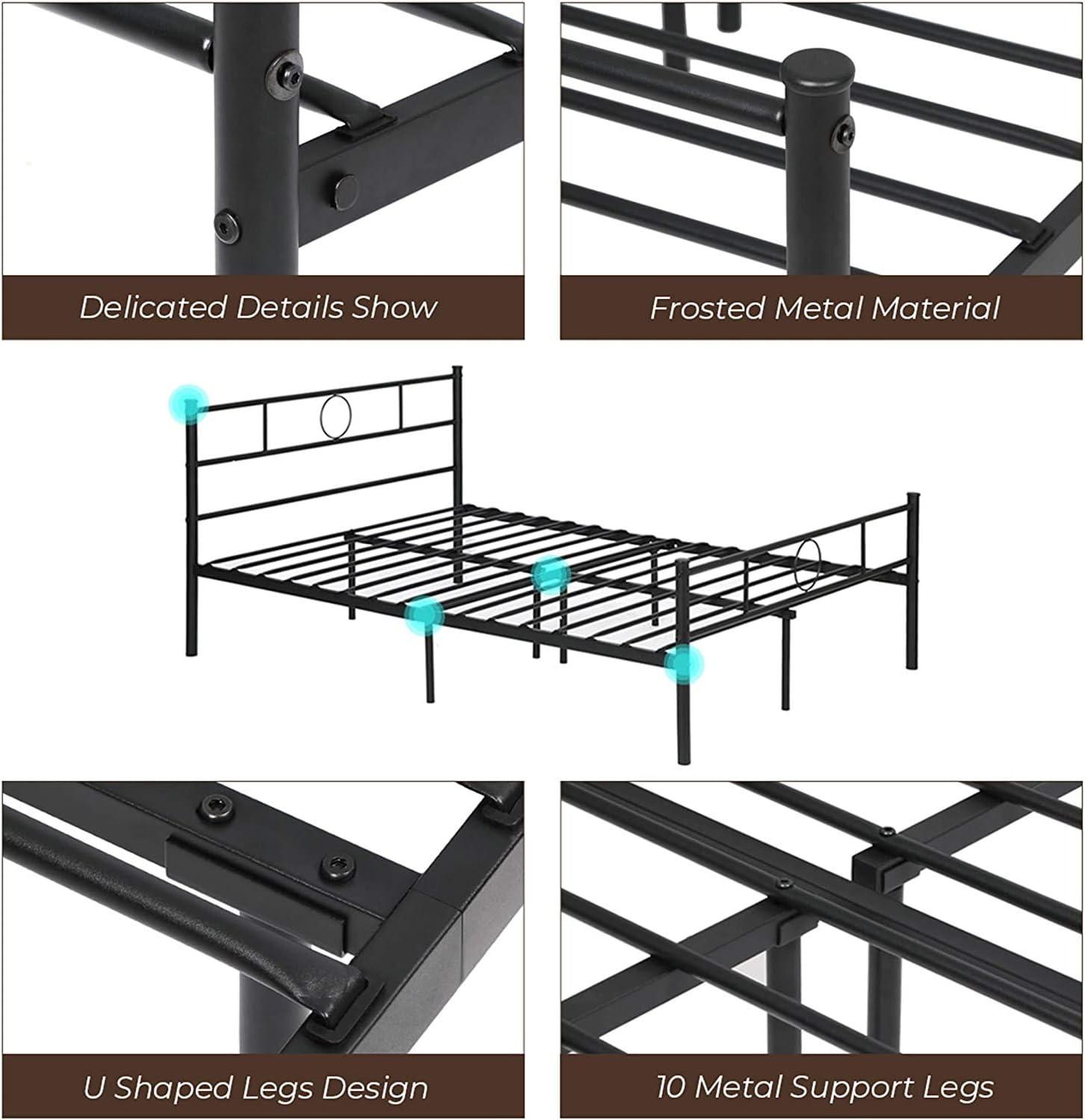 Aingoo Cama de Metal Estructura con somier Negro (140_x_190_cm)