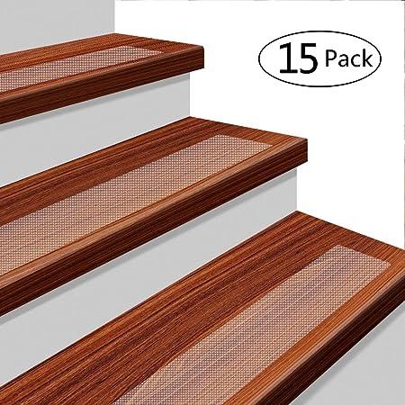 YISUN 15 Pack Non Slip Stair Tread 24u0026quot;x 4u0026quot; Anti Slip Clear