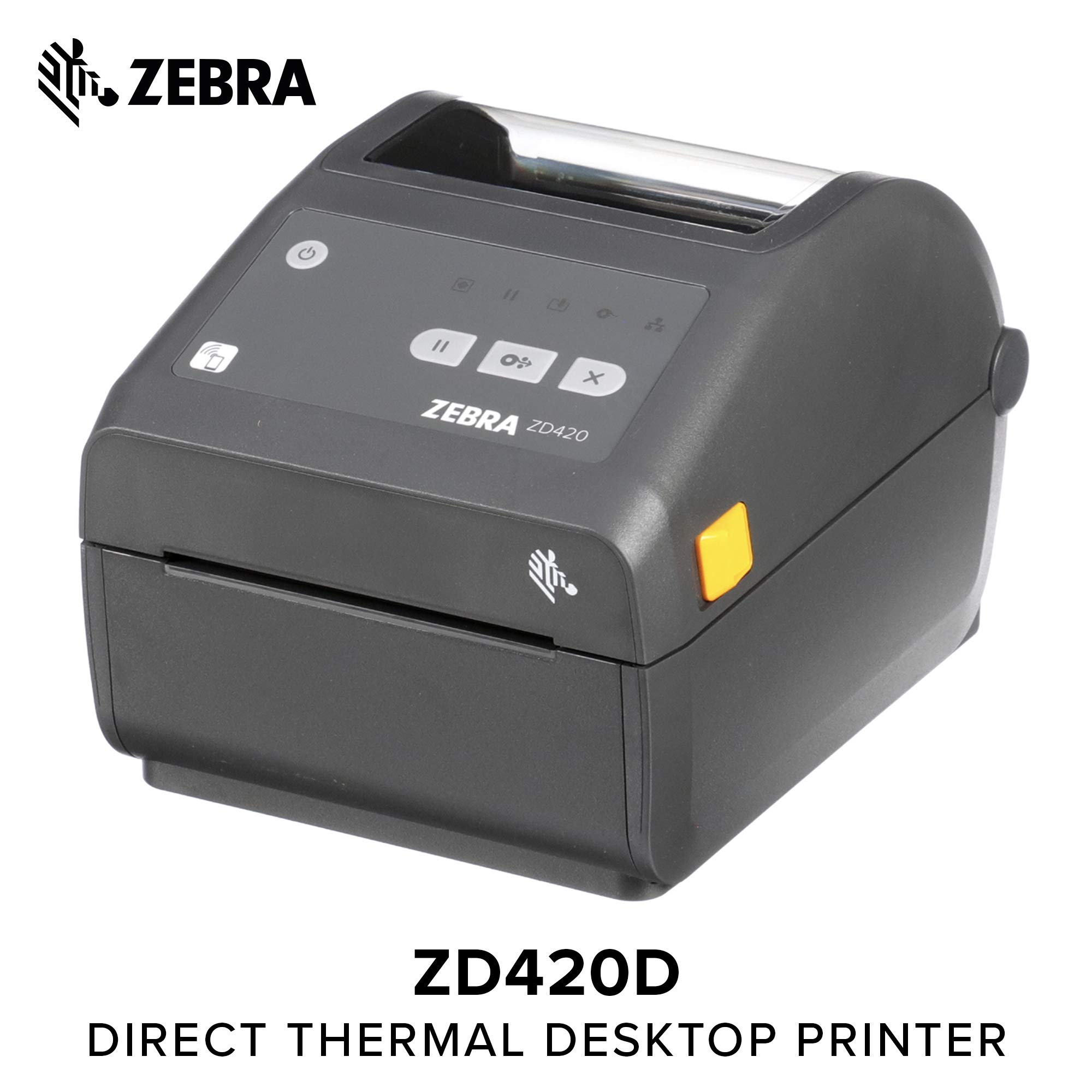 Zebra - ZD420d Direct Thermal Desktop Printer for Labels and Barcodes - Print Width 4 in - 300 dpi - Interface: Ethernet, USB - ZD42043-D01E00EZ
