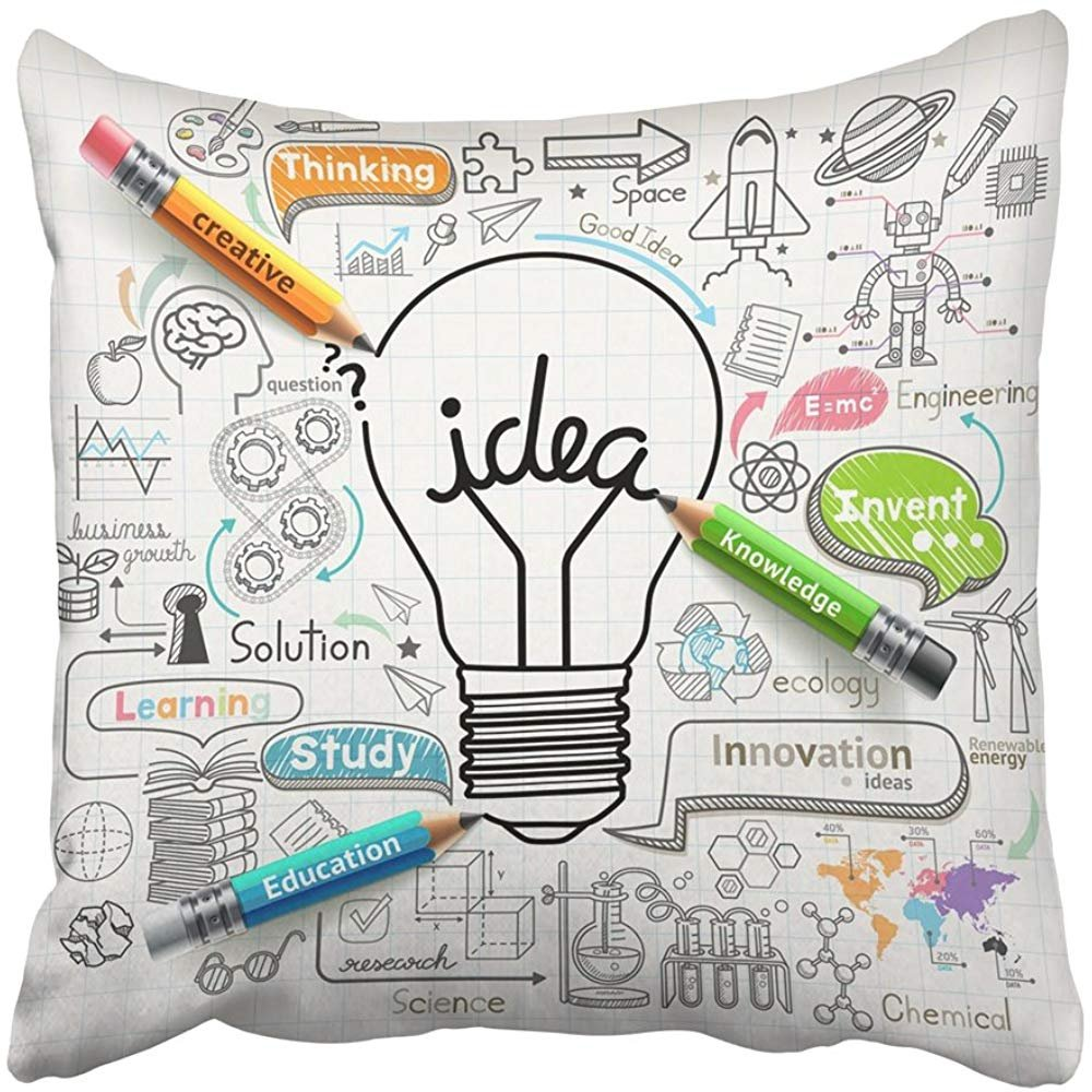 Throw Pillow Cover Square 18x18 Inches Sketch Lightbulb Ideas Concept Doodles School Creative Science Study Technology Engineer Invent Polyester Decor Hidden Zipper Print On Pillowcases