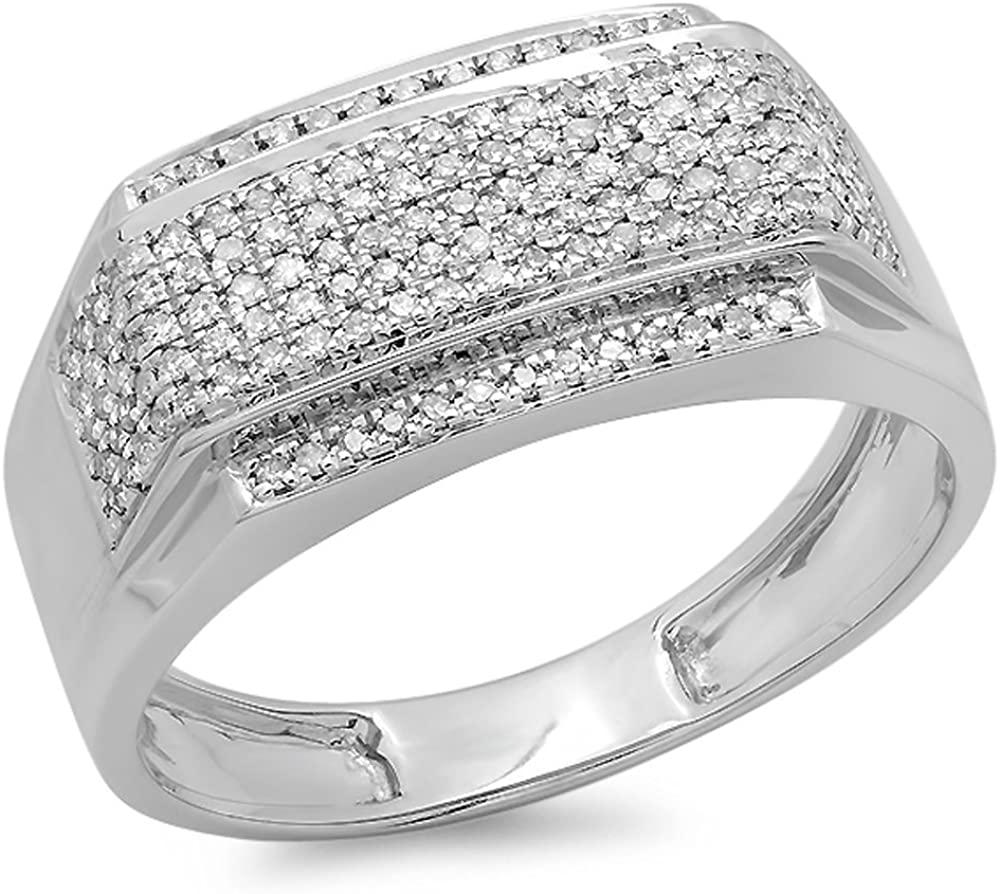 Dazzlingrock Collection 0.45 Carat (ctw) White Diamond Men's Flashy Hip Hop Pinky Ring 1/2 CT, Sterling Silver