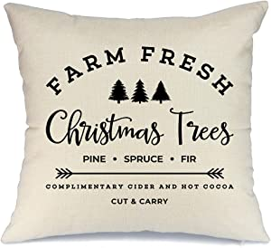 AENEY Farmhouse Christmas Pillow Cover 18x18 inch Farm Fresh Christmas Tree Throw Pillow for Christmas Decor Farm Sign Christmas Decorations Throw Pillow Cover