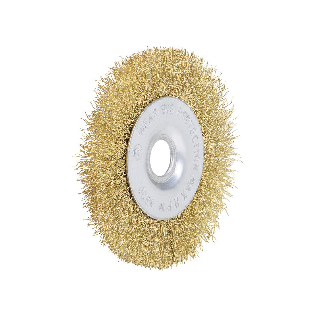 uxcell 4-Inch Wire Wheel Brush Bench Brass Plated Crimped Steel with 5//8-Inch Arbor Hole 2 Pcs