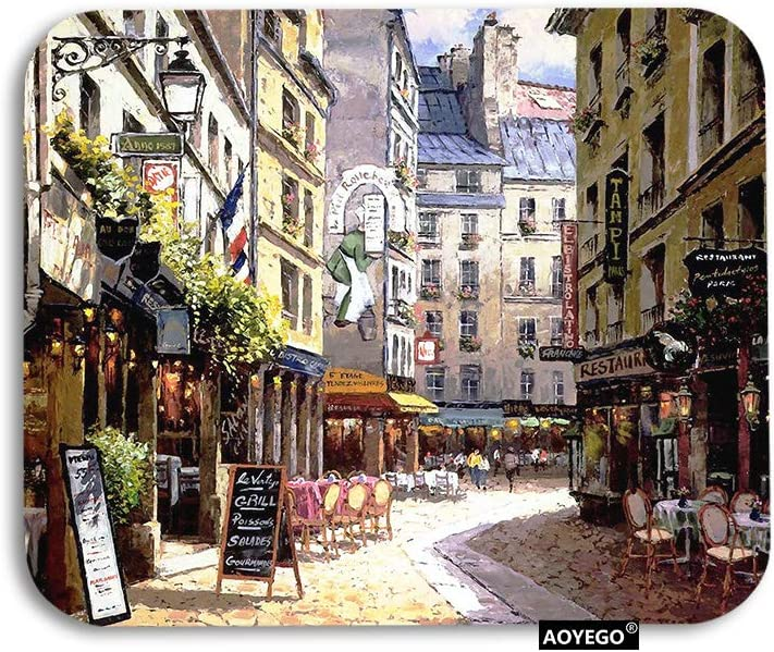 AOYEGO Paris Mouse Pad Vintage Painting France Street Cafe European Building French Shops Gaming Mousepad Rubber Large Pad Non-Slip for Computer Laptop Office Work Desk 9.5x7.9 Inch