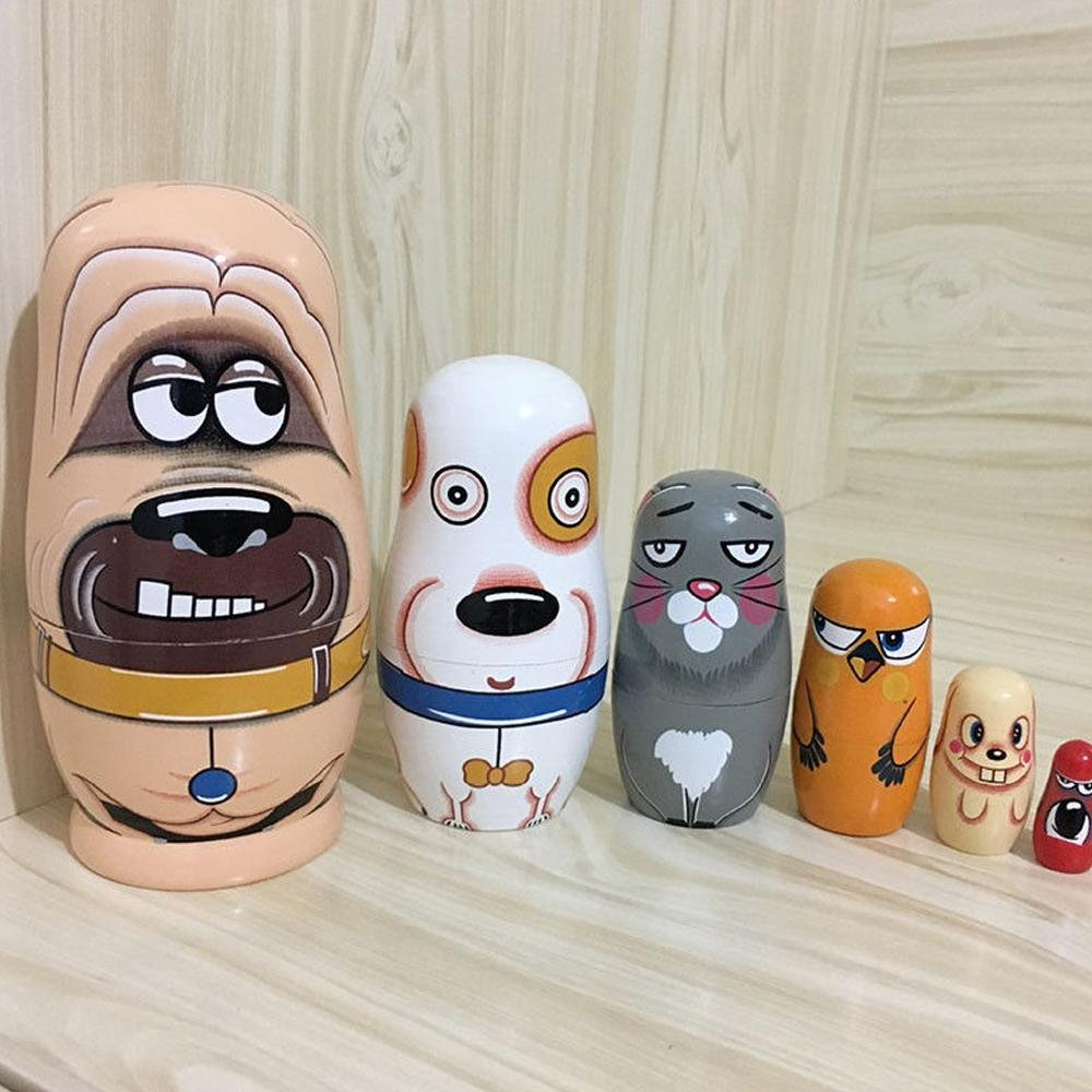 AOLVO Set di 6matrioske animale per bambini cute Dog Matryoshka bambole mano Legno russo bambola per decorazioni per la casa o per bambini