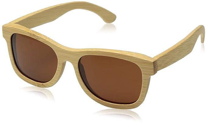isunhot) madera de bambú gafas de sol polarizadas con protección UV lente en Vintage Wayfarer