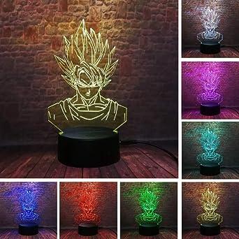 Lámpara de ilusión 3D, Siete regalos de Dragon Ball Juguetes Decoración Lámpara de luz de noche LED 7 colores Control táctil Lámpara de decoración de fiesta alimentada por USB, Lámpara visual 3D:
