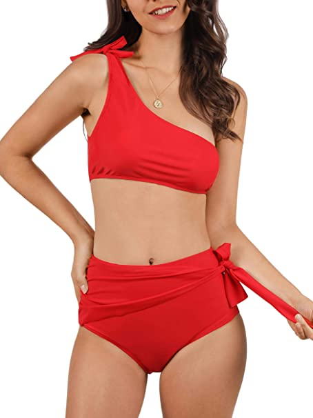 f56ee2fb43a64 Amazon.com: Lovaru Womens High Waisted Swimsuit One Shoulder Crop Top Bikini  Set Ruched Side Tie Beachwear: Clothing