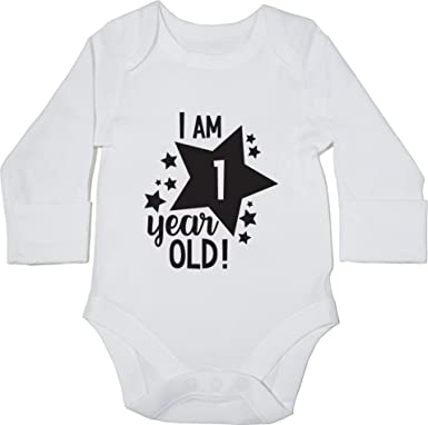 83ce16b4e Hippowarehouse I Am 1 Year Old! - 1st Birthday Milestone Birthday Baby Vest  Bodysuit (Long Sleeve) Boys Girls: Amazon.co.uk: Clothing