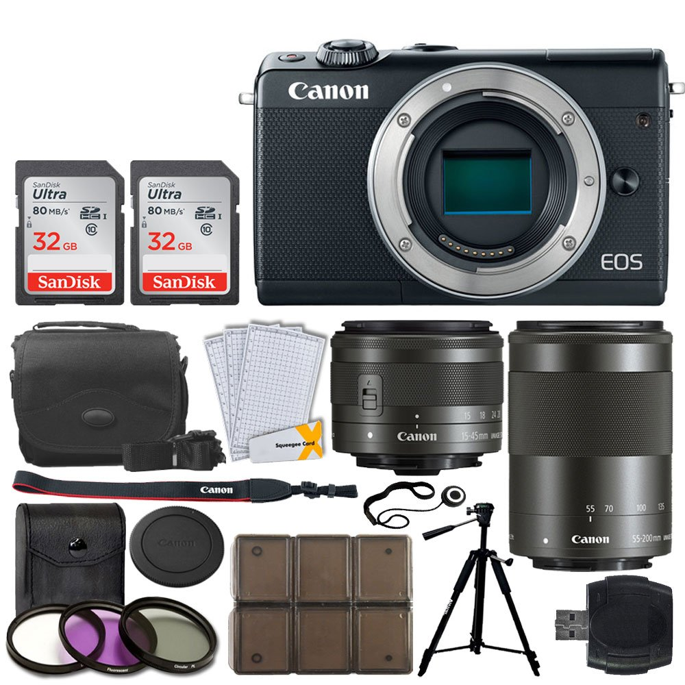 Canon EOS M100 Mirrorless Digital Camera + EF-M 15-45mm f/3.5-6.3 IS STM Lens (Graphite) + EF-M 55-200mm f/4.5-6.3 IS STM Lens (Black) + 32GB Memory Card + Tripod + 12 Piece Card Holder + UV Filters by PHOTO4LESS